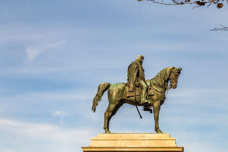 ROME, ITALY - JANUARY 5, 2019: light is enlightening statue of Giuseppe Garibaldi riding horse