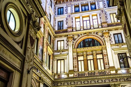 ROME, ITALY - JANUARY 4, 2019: lights are enlightening frescoes and ornamentations of Sciarra Gallery, hidden wonderful architectural gem of Rome Archivio Fotografico - 117431217