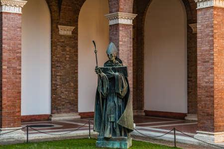 ROME, ITALY - JANUARY 4, 2019: sun light is enlightening Saint Anselm of Canterbury church 에디토리얼