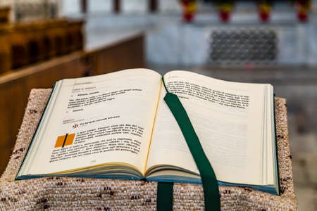 ROME, ITALY - JANUARY 4, 2019: light is enlightening Holy Bible in basilica of Saint Sabina in Aventine District