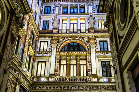 ROME, ITALY - JANUARY 4, 2019: lights are enlightening frescoes and ornamentations of Sciarra Gallery, hidden wonderful architectural gem of Rome Archivio Fotografico - 117431247