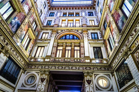 ROME, ITALY - JANUARY 4, 2019: lights are enlightening frescoes and ornamentations of Sciarra Gallery, hidden wonderful architectural gem of Rome Archivio Fotografico - 117432807