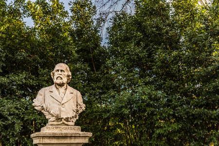 ROME, ITALY - JANUARY 5, 2019: light is enlightening statue of Menotti Garibaldi Editorial