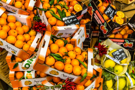 BOLOGNA, ITALY - DECEMBER 16, 2018: lights are enlightening oranges and clementines for sale at FICO Eataly World, the largest gourmet agri-food park in the world Editorial