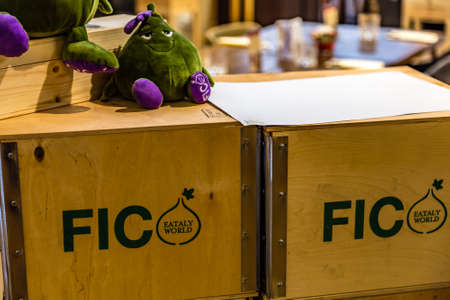 BOLOGNA, ITALY - DECEMBER 16, 2018: lights are enlightening logo of FICO Eataly World, the largest gourmet agri-food park in the world Editorial