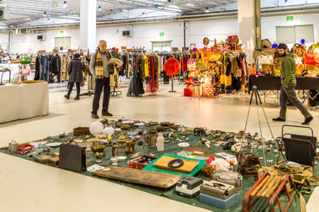 CESENA, ITALY - JANUARY 20, 2019: people going shopping in Antiques Fair