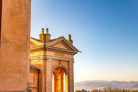 BOLOGNA, ITALY - DECEMBER 15, 2018: sunlight is enlightening the Sanctuary of the Blessed Virgin of Saint Luke Редакционное