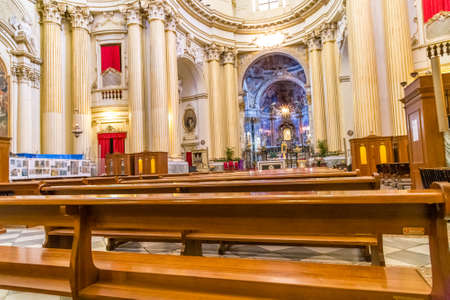 BOLOGNA, ITALY - DECEMBER 15, 2018: light is enlightening the interiors of the Sanctuary of the Blessed Virgin of Saint Luke