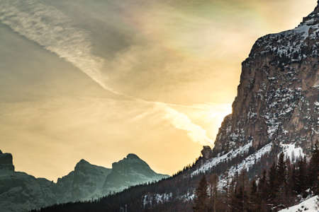 relaxing panorama of snow covered mountains in Dolomites