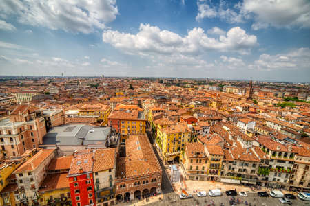 Breathtaking cityscape with view of the roofs of Verona, the Italian city of Lovers