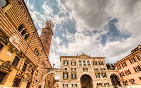 ancient buildings in main square of historical center of Verona in Italy Banque d'images