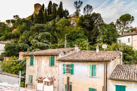 tile roofs of medieval village in Italy