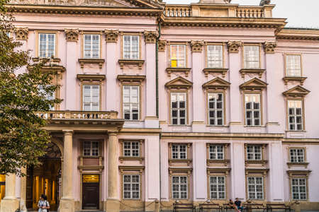 BRATISLAVA, SLOVAKIA - AUGUST 27, 2019: sunlight is enlightening The Primatial Palace in Bratislava, capital of Slovakia