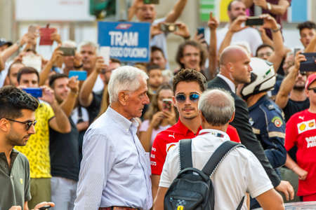 MILANO, ITALY - SEPTEMBER 4, 2019: the F1 driver of Ferrari Racing, Charles Leclerc meeting fans at 90 Years Party