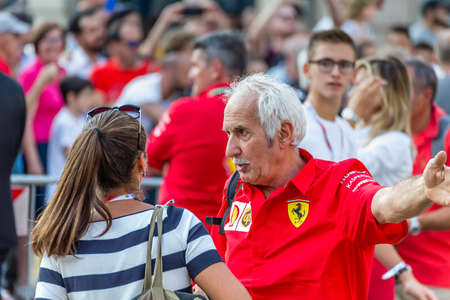 MILANO, ITALY - SEPTEMBER 4, 2019: fans celebrating Ferrari at 90 Years Party