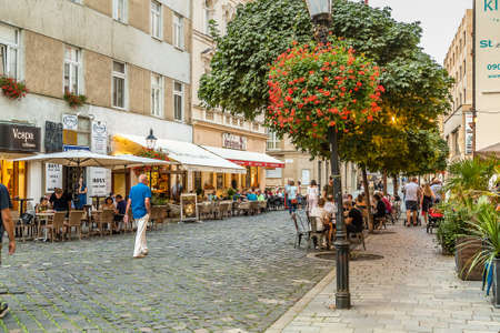 BRATISLAVA, SLOVAKIA - AUGUST 27, 2019: tourists visiting Bratislava, capital city of Slovakia