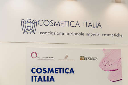 BOLOGNA (BO), ITALY - APRIL 12, 2019: light is enlightening COSMETICA ITALIA logo in Cosmofarma Exhibition, the pharmacy world's leading European event for the Health Care and Beauty Care sectors