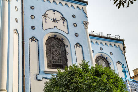 BRATISLAVA, SLOVAKIA - AUGUST 28, 2019: sunlight is enlightening Blue Church, Art Noveau building in Bratislava, capital city of Slovakia Archivio Fotografico - 136453210