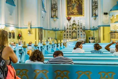 BRATISLAVA, SLOVAKIA - AUGUST 28, 2019: people praying in the Blue Church, Art Noveau building in Bratislava, capital city of Slovakia Archivio Fotografico - 136453255