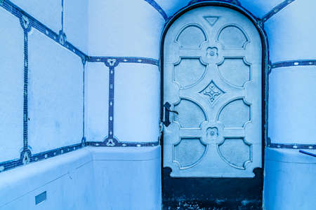 BRATISLAVA, SLOVAKIA - AUGUST 28, 2019: sunlight is enlightening Blue Church, Art Noveau building in Bratislava, capital city of Slovakia Archivio Fotografico - 136453309