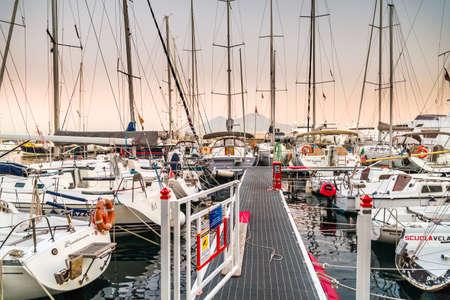 NAPLES, ITALY - JANUARY 2, 2020: boats moored in marina in the Gulf of Naples, Italy