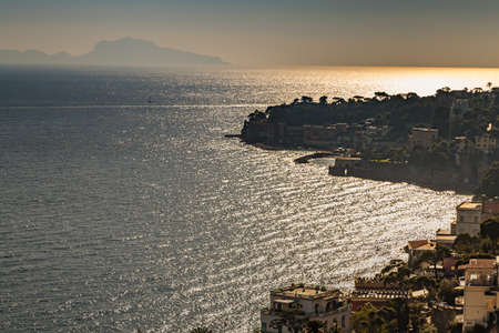 stunning view of the waters of Tyrrhenian sea on the coast of Napoli