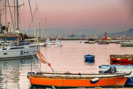 NAPLES, ITALY - JANUARY 2, 2020: boats moored in marina in the Gulf of Naples, Italy Reklamní fotografie