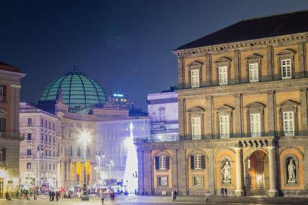 NAPLES, ITALY - JANUARY 4, 2020: light is enlightening Piazza del Plebiscito in Naples, Italy