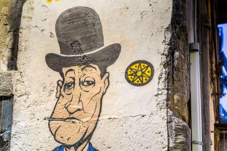 NAPLES, ITALY - JANUARY 4, 2020: light is enlightening street art dedicated to the famous Italian comedian Antonio De Curtis, Totò