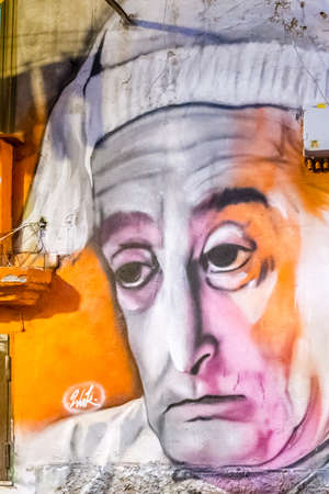 NAPLES, ITALY - JANUARY 4, 2020: light is enlightening street art dedicated to the famous Italian comedian Antonio De Curtis, Totò Editoriali