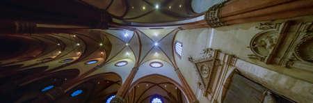 BOLOGNA, ITALY - DECEMBER 29, 2019: light is enlightening the Basilica of Saint Petronius