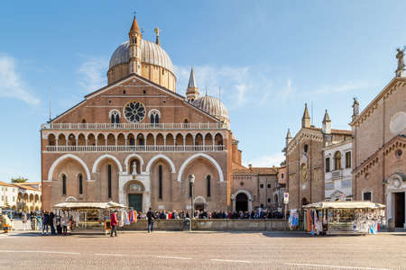 PADOVA, ITALY - FEBRUARY 23, 2019: tourists are visiting the stunning Basilica of Saint Anthony of Padua, one of the most spiritual places in Italy