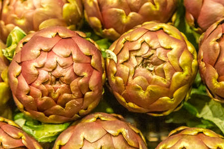 closeup of fresh vegetables, artichokes