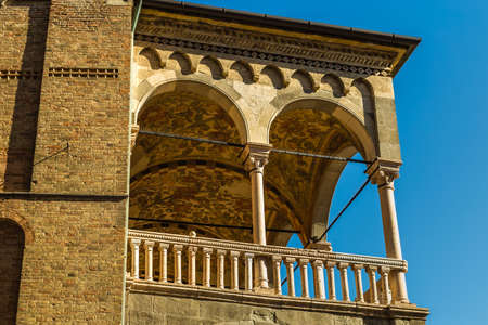 PADOVA, ITALY - FEBRUARY 23, 2019: sunlight is enlightening typical architecture of buildings in historical center in Padova Banco de Imagens