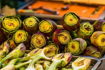 closeup of green fresh artichokes Banco de Imagens