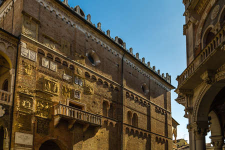 PADOVA, ITALY - FEBRUARY 23, 2019: sunlight is enlightening typical architecture of Palazzo del Capitanioin historical center in Padova