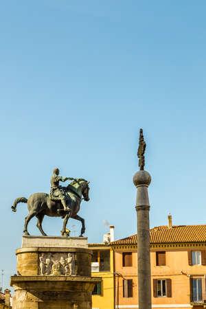 PADOVA, ITALY - FEBRUARY 23, 2019: sunlight is enlightening the statue of Erasmo Stefano from Narni, the Gattamelata Editorial