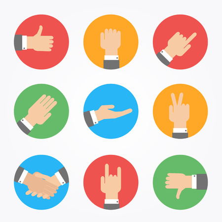 hand icons in flat design Illustration