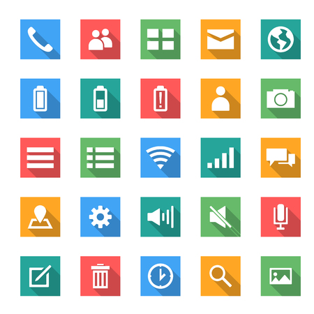 moble: icon set for moble in flat design with long shadows