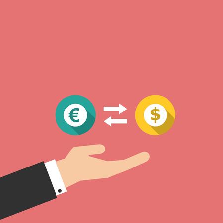 money exchange: money exchange with hand in flat design Illustration