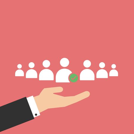 choosing the talented person for hiring in flat design Illustration