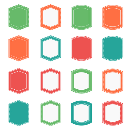 chatbox: badge banner flat design set Illustration