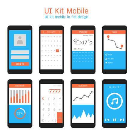account form: Ui kit mobile in flat design