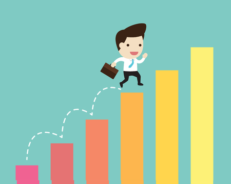 vector business man jump over growing chart in flat design