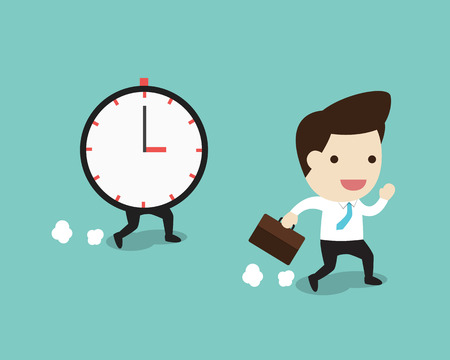 beatific: vector business man running with time in flat design