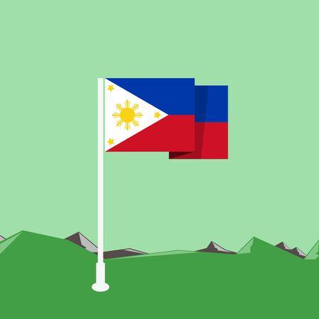 Philippines flag in flat design Illustration