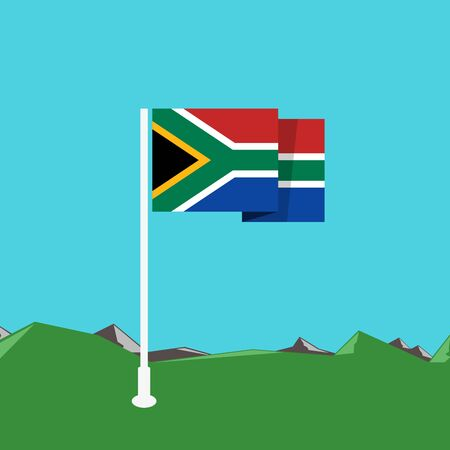 south africa flag: South Africa flag with nature background in flat design Illustration