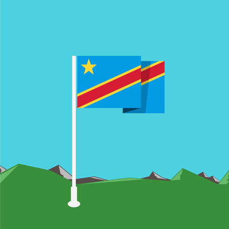 zaire: Democratic Republic of Congo flag with nature background in flat design Illustration