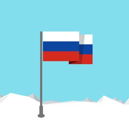 russian culture: Russia flag in flat design