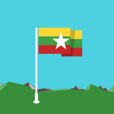 burmese: Burma flag with nature background in flat design Illustration